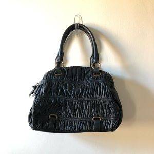 BCBG Girls Black leather ruched purse